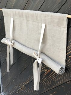 Linen Curtains Country Kitchen Tie Up Valance Rustic Window Treatment French Country Farmhouse Living Room Farmhouse Curtain Blind