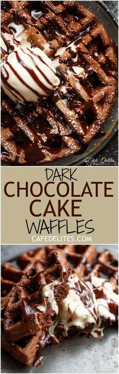 Or rich, chocolate cake transformed into waffles. These waffles are breakfast or dessert and so decadent — with no complicated steps Just Desserts, Delicious Desserts, Dessert Recipes, Yummy Food, Drink Recipes, Cake Waffles, Waffle Cake, Crepes, Dark Chocolate Cakes