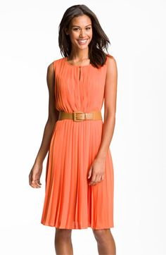 Maggy London Sleeveless Pleated Chiffon Dress