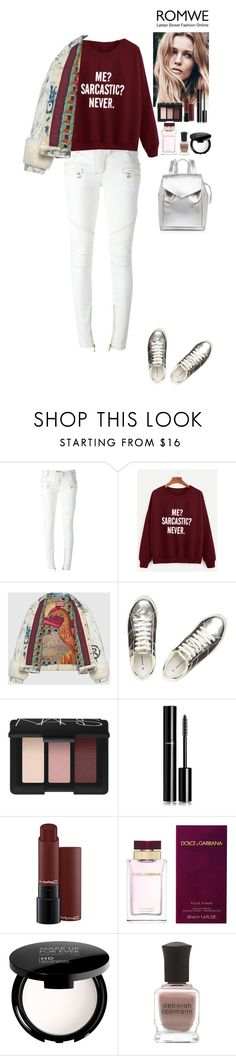 """""""Romwe contest"""" by eliza-redkina ❤ liked on Polyvore featuring Balmain, Gucci, Dorothy Perkins, NARS Cosmetics, Chanel, Dolce&Gabbana, MAKE UP FOR EVER, Deborah Lippmann and Loeffler Randall"""