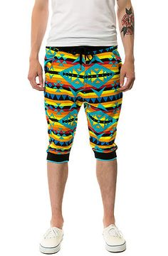 The Pattern Printed Jogger Shorts in Shocking Tribal by Allston Outfitter