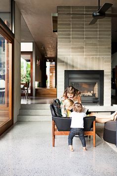 How To Build An Eco-friendly Family Home From Scratch - Living rooms - This eco friendly family home features polished concrete floors and a distinct mid century modern s - Polished Concrete Flooring, Smooth Concrete, Modern Flooring, Concrete Floors In House, Concrete Tiles, Kitchen Flooring, Interior Architecture, Interior Design, Architecture People