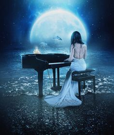 fantasy woman playing piano by the sea art print, full moon wall decor, blue dolphins poster Beautiful Fantasy Art, Beautiful Moon, Ocean Artwork, Dolphin Art, Piano Art, Playing Piano, Sea Art, Foto Art, Fantasy Women