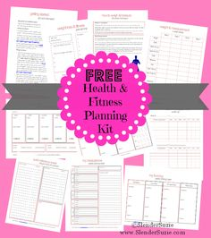 Enjoy your FREE PRINTABLE Slender Suzie Health & Fitness Planning Kit!! Track weight, fitness, measurement, plan meals, grocery lists, and LOTS more! www.SlenderSuzie.com