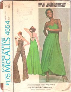 McCalls 4554 1970s Misses Disco Prom Evening Pullover Halter Wrap Dress Top and Pants for Stretch Knits womens vintage sewing pattern by mbchills