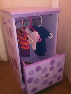 I turned an ugly two drawer dresser into a baby doll closet