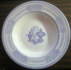 Antique Wedgwood Purple Transferware Urn Scroll Flat 3-D Bowl