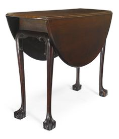 EXTREMELY RARE CHIPPENDALE C-Scroll CARVED AND FIGURED MAHOGANY DROP-LEAF TABLE, Boston, Massachusetts, circa 1750 -  of rare small size with rich dark brown color. Height 26 1/4 in. by Width (open) 38 1/2 in. by Depth 35 1/2 in.