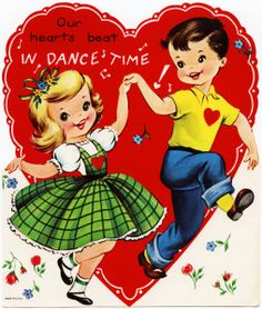 vintage dance valentine, retro children valentine, dance time valentine, free vintage heart graphic, boy and girl dance, dance clipart