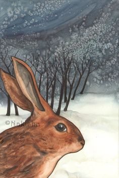 RESERVED for LS - Original Art - The Ten of Rabbits - Watercolor Rabbit Painting -The Badgers Forest Tarot