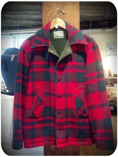 Alley Oop Vintage's: Maine Woodsman Flannel jacket with forest green fleece lining and snap buttons. HOT!!!    FOR SALE at Portland Flea-for-All