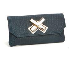 Deux Lux Double Cross Wallet Teal - Lufli.com ON SALE - $49