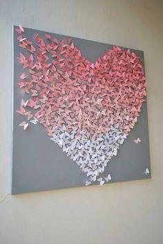 Leuk om te maken! Gewoon heel veel ( bloemen, vlinders) uitknippen, dubbelvouwen en opplakken