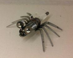 Metal Spider Welded Bug Metal Insects Spark Plug by DesignDredge