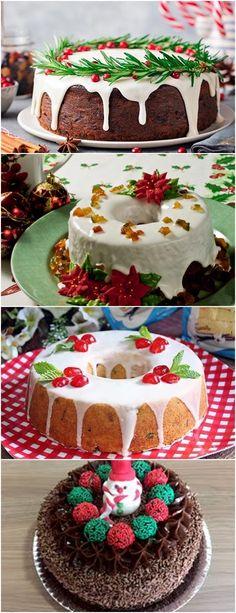 BOLO DE NATAL! SURPREENDA A FAMÍLIA TODA COM ESSA DELÍCIA NA CEIA DE NATAL! (veja a receita) Pouco a pouco acrescente a farinha peneirada junto com a canela e alternando com a água. Quando obtiver uma massa sem grumos, adicione o fermento e as frutas cristalizadas e misture bem. #receitas#bolo#doce#sobremesa#aniversario#pudim#mousse#pave#cheesecake#chocolate#confeitaria Christmas Treats, Christmas Baking, Mini Cakes, Cupcake Cakes, Doughnut Cake, Christmas Entertaining, Xmas Food, Food Platters, Fashion Cakes