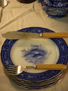 Old Flow Blue Plates With Fish Service