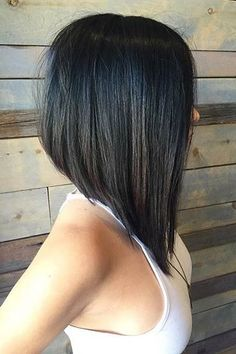 Straight, Black Asymmetrical Lob Haircut