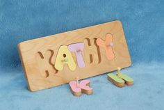 Designed with skillful craftsmanship for children. A perfect tool to help teach children to learn their name and also aids and promotes manual dexterity! Each letter of the Puzzle Board is brightly painted with safe, non-toxic paint. In your choice of Primary or Pastel colors or left