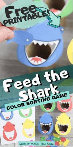 Feed the Shark Game with Free Printable - Feed the shark color sorting game. This is a great shark activity for preschool aged kids! Color Activities For Toddlers, Shark Activities, Shark Games, Cognitive Activities, Preschool Colors, Toddler Learning Activities, Preschool Games, Infant Activities, Toddler Preschool