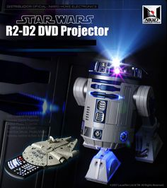 R2D2 life size projector with Millennium Falcon remote. Auxiliary works with almost anything - iPod, Xbox, USB, DVD, you name it.