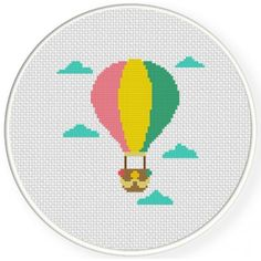 Hot Air Balloon In The Sky Cross Stitch Pattern, You can make very special habits for textiles with cross stitch. Cross stitch designs may almost impress you. Cross stitch novices can make the designs they need without difficulty. Simple Cross Stitch, Cross Stitch Baby, Modern Cross Stitch, Cross Stitch Designs, Cross Stitch Patterns, Learn Embroidery, Cross Stitch Embroidery, Embroidery Patterns, Crochet Cross