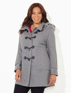 Toggle & Trim Coat   Catherines Toggle details translate to timeless sophistication on our elegant coat. Cozy faux wool fabric, paired with a zip-and-snap front with overlapping toggle closures, creates a tripling defense against any weather. Easily transform the silhouette by removing the detachable hood or choose to just remove the fashionable, faux fur rim for a streamlined look. Long sleeves. #catherines #plussizefashion #fallfashion #coat [Promotional Pin] (sweepstakes)