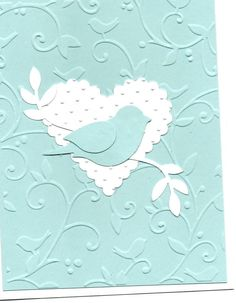 Wedding Card Templates Mozelle: I love the SU bird punch! Wedding Cards Handmade, Greeting Cards Handmade, Bird Cards, Butterfly Cards, Pretty Cards, Cute Cards, Embossed Cards, Wedding Card Templates, Valentine Day Cards