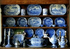 I have to be crazy to collect pottery in Earthquake Country. Blue And White China, Blue China, Love Blue, China Display, White Spray Paint, Polymer Clay Miniatures, China Patterns, White Decor, White Porcelain