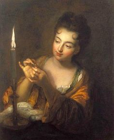The embroiderer candlelight. Oil on canvas by Jean Baptiste SANTERRE (French…