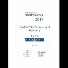 Yeah, we are recommened on @holidaycheck 2017! Happy Travel Tuesday!  #recommended #recommendation #review #bewertung #hotelbewertung #holidaycheck #hotel #hotelberlin #visit_berlin #berlin #citywest #goldentulipberlin #traveltuesday