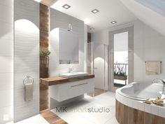 Łazienka w stylu skandynawskim - projekt - Średnia łazienka na poddaszu w domu jednorodzinnym z oknem, styl skandynawski - zdjęcie od MKsmartstudio
