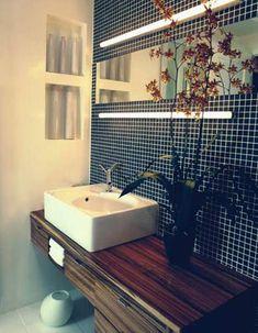 My home renovation – bathroom ideas Laundry Room Bathroom, Wood Bathroom, Small Bathroom, Bathroom Ideas, Bathroom Renovations, Home Renovation, Black Bath, Small Sink, Wood Vanity