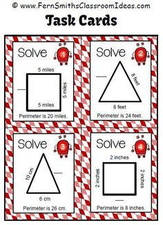 Four #Free Task Cards in the preview of Perimeter Penny Finding the Unknown Side Task Cards and Printables For 3.MD.D.8 #TPT $Paid