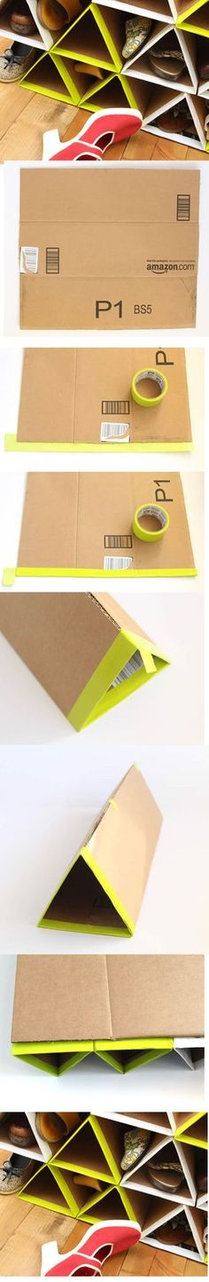 Discover thousands of images about Como Fazer Sapateira Artesanal com Papelão Diy Storage, Diy Organization, Dyi, Interior Design Principles, Recycled House, Diy Box, Cool Diy, Diy And Crafts, Recycled Crafts
