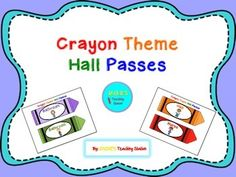 Are you looking to incorporate a crayon theme in to your classroom?  If so this is just the product for you!  Here are some cute crayon theme hall passes in six different colors for the bathroom, nurse, library, office, and hall use. For more crayon theme products visit my store at Jackie's Teaching Station!Enjoy!