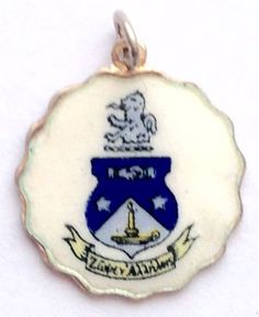 Vintage Enamel Sorority Charm - Scalloped Round Edge - Alpha Delta Pi