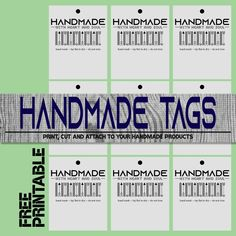 Free Handmade Tag - Print and Cut then add to your products! Digital Scrapbooking Freebies, Handmade Tags, Color Card, Print And Cut, Free Crochet, Free Printables, Things To Think About, Card Stock, About Me Blog