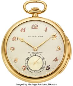 Timepieces:Pocket (post 1900), Patek Philippe, Very Fine Gold Minute Repeater For Tiffany &Co, Original Box, circa 1924. ...