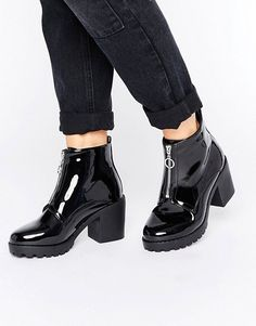 New Look Patent Zip Up Chunky Boot