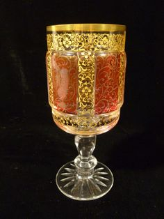 BEAUTIFUL VINTAGE MOSER RUBY CABOCHON & GILT CUT CRYSTAL GOBLET WINE STEM