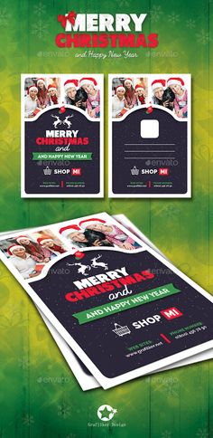 Christmas Postcard Templates — Photoshop PSD #boots #invitation • Available here → https://graphicriver.net/item/christmas-postcard-templates/13455633?ref=pxcr
