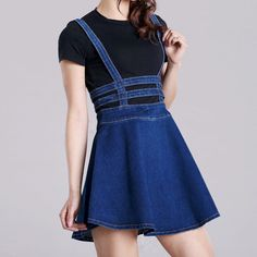 New Women Denim Overall Jumper Dress Casual Skater Zip Jean High Wasit Bib Skirt in Clothing, Shoes & Accessories, Women's Clothing, Dresses | eBay