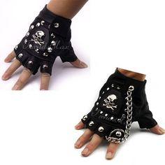 K-DESIGN PU Leather Skull Punk Black DRIVING Motorcycle Biker Fingerless Tactical Gloves Mens Womens Gloves Gift for Xmas by K-DESIGN, http://www.amazon.co.uk/dp/B00IURGW1Q/ref=cm_sw_r_pi_dp_URTutb1CE37PC