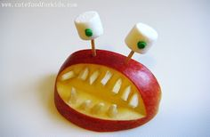 Apple Monsters with sliced almond teeth and marshmallow eyes! Halloween Food