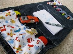 Cars and crayons clutch for the little man.  Perfect for trips out to dinner!