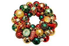red, green and gold ornament wreath...