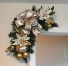 Christmas Swag, Corner Door Wreath, Elegant Gold White Mesh Garland Wreath, Door, Picture, Mirror Swag, Floral Arrangement, Holiday Décor by GiftsByWhatABeautifu on Etsy