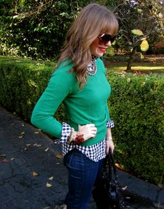 Layering, collared gingham shirt and sweater. Fall Winter Outfits, Autumn Winter Fashion, Sweater Weather, Preppy Style, My Style, Outfits Mujer, Layered Fashion, Weekend Wear, Work Attire
