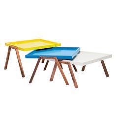 Salontafel Bilbao Tray (3-delige set) - wit/blauw/geel