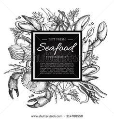 Vector vintage seafood restaurant illustration. Hand drawn banner. Great for menu, banner, flyer, card, seafood business promote.